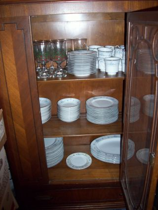 Antique China Cabinet W/dishes And Silverware (rr) $500.  00 photo