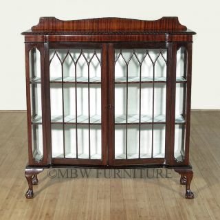 Antique English Mahogany Chippendale 4ft Curio Display Cabinet C1940's P100 photo