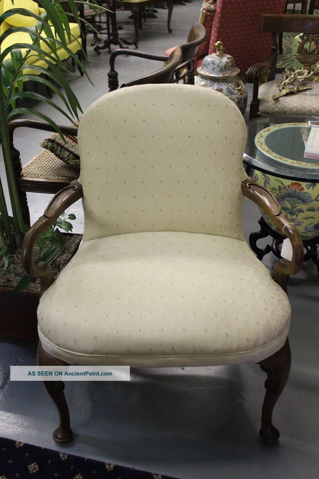 Large Vintage Upholstered French Style Arm Chair Post-1950 photo