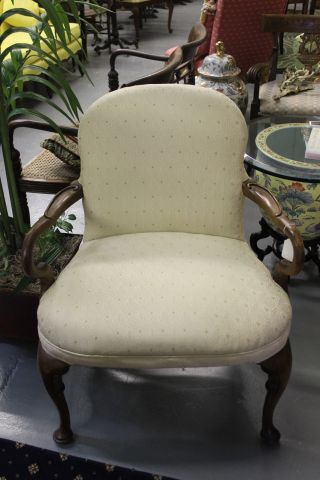 Large Vintage Upholstered French Style Arm Chair photo