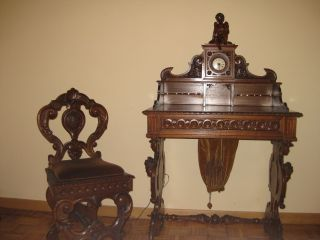 Rare Toscana Walnut Period Antique Desk Chair Cupid Clock Italy photo