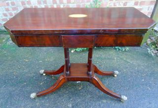 Regency.  Card Table With Hairy Paw Feet And Four Ring Turned Legs C1820 - 1820. photo
