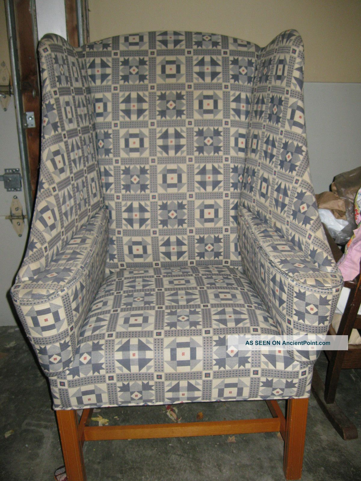 Wing Back Upholstered Chair - 1960 ' S Johnston Co.  - Very Unusual Post-1950 photo