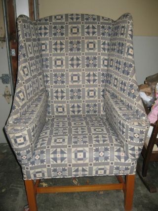 Wing Back Upholstered Chair - 1960 ' S Johnston Co.  - Very Unusual photo