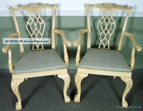 5604: Drexel Heritage White Washed Arm Chairs Gorgeous Post-1950 photo