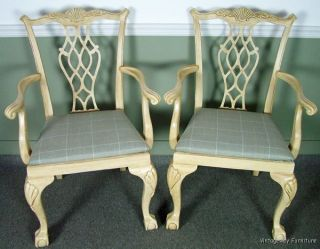5604: Drexel Heritage White Washed Arm Chairs Gorgeous photo
