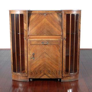 Antique Walnut Art Deco Side X Side Curio Cocktail Liquor Cabinet W/ Cart C1930s photo