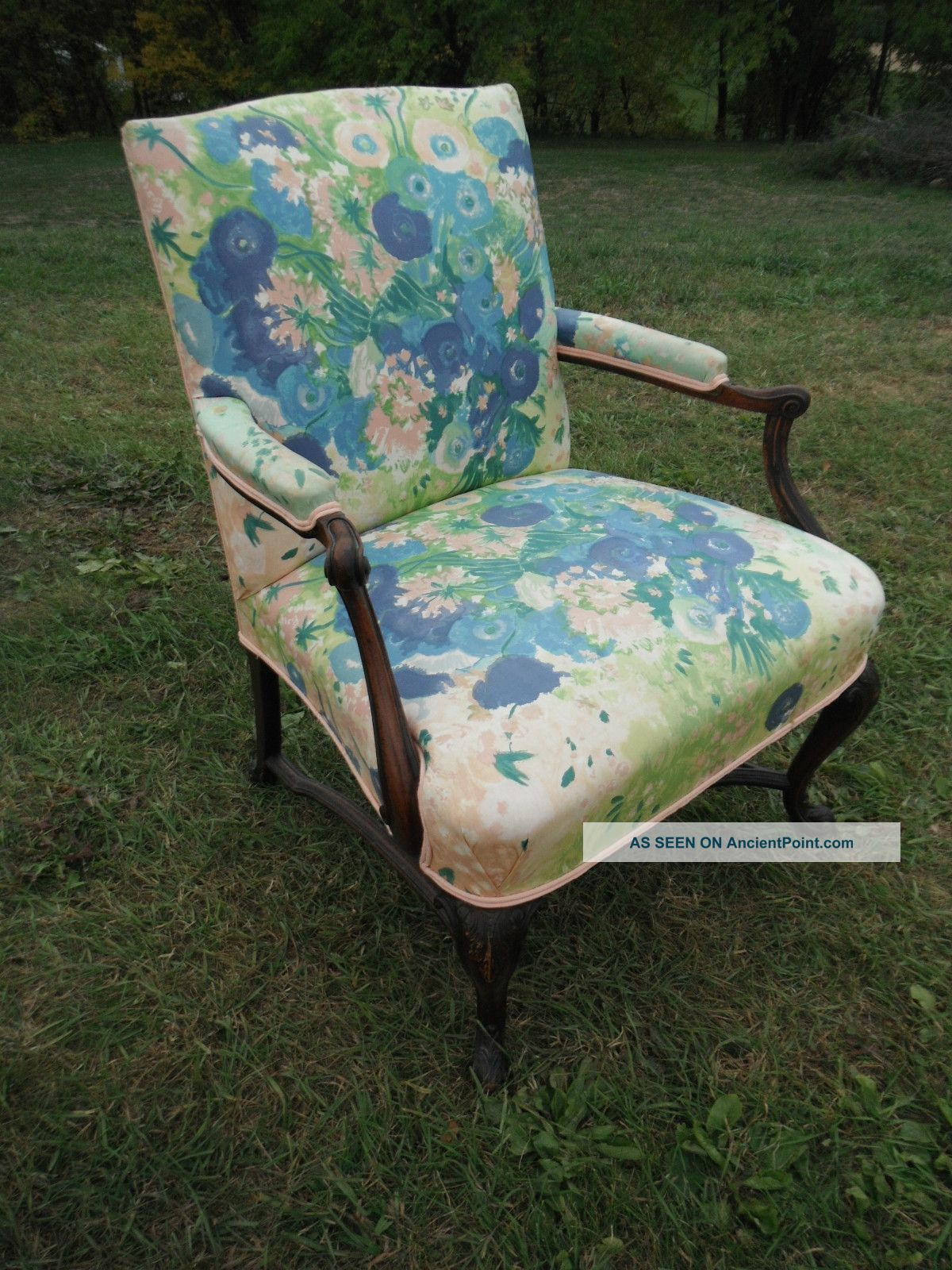 Gorgeous Antique Upholstered Armchair In Pastel Florals - Local Pickup Only Post-1950 photo