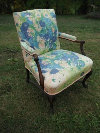Gorgeous Antique Upholstered Armchair In Pastel Florals - Local Pickup Only photo