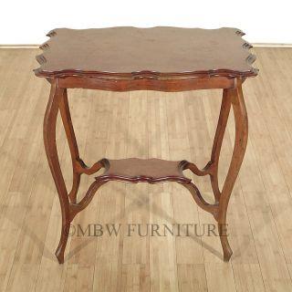 Antique English Mahogany Edwardian End Side Table W/ Shelf C1910 P38 photo