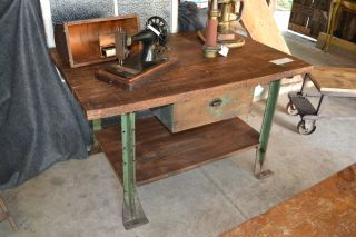Work Bench Table Vintage Industrial Factory Carpenter Island Shop Desk Retail photo