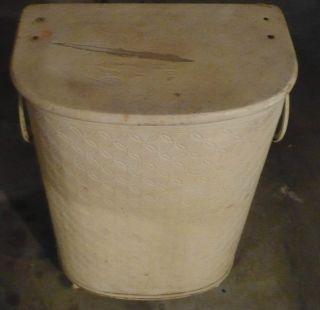 Rare Vintage 1950s Clothes Hamper/basket Made Of Metal photo
