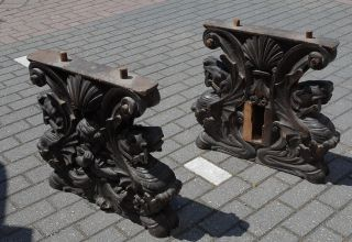 An Italian Baroque Carved Walnut Pair Refectory Table Supports 17th Century photo