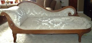 Antique Vintage French Chaise Swan Motif Hand Carved Mohagany Reupholstered photo