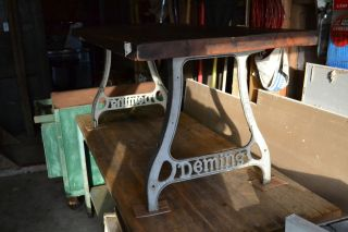 Vintage Industrial Workbench Table Wood Iron Base Legs Mercantile Coffee photo
