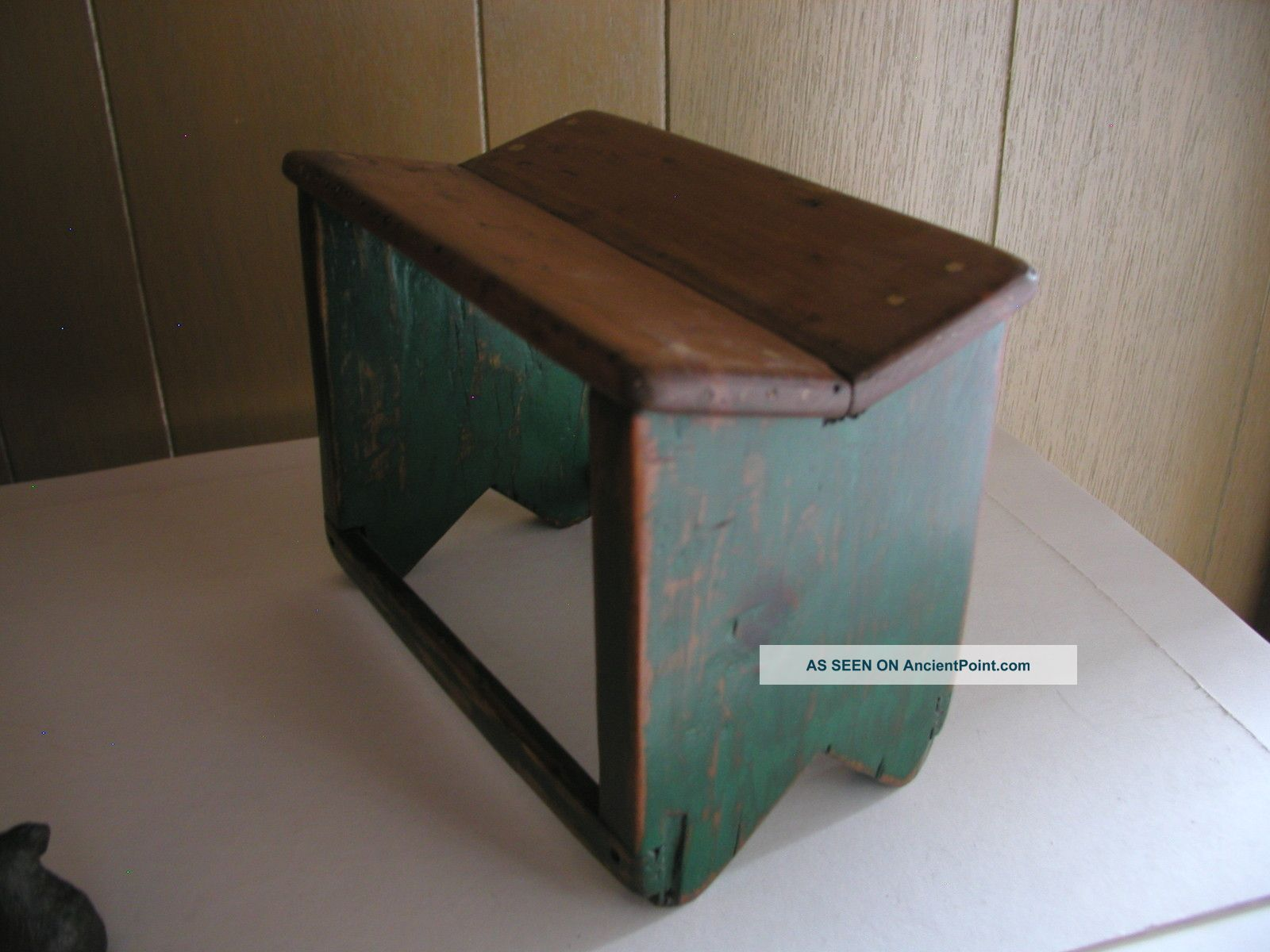 Superb img of Antique Wooden Step Stool / Foot Stool Stained Painted Green Unknown  with #2F281C color and 1600x1200 pixels
