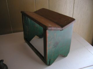 Antique Wooden Step Stool / Foot Stool - Stained Painted Green photo