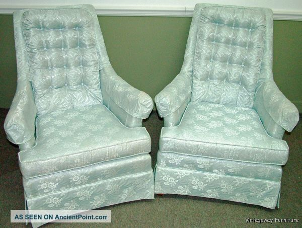 6036: Mid - Century Hollywood Regency Pair Accent Lounge Chairs Post-1950 photo