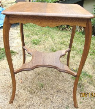 Old Quarter Sawed American Oak Wooden End Table - photo