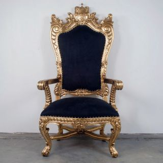 King ' S Throne Chair Gold Leafed Mahogany W/ Black Suede Seat New photo