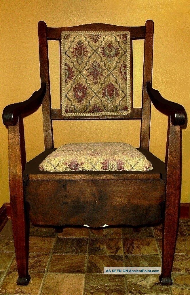 Antique c 1860 wood mahogany adult commode potty arm chair and