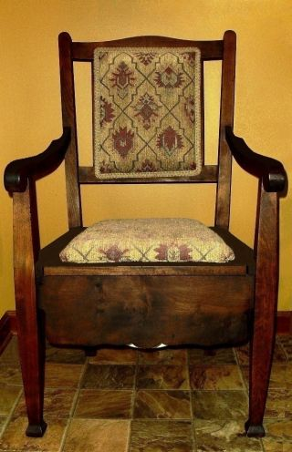 Antique,  C.  1860,  Wood,  Mahogany,  Adult Commode/potty Arm Chair And Chamber Pot. photo