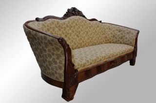 16017 Antique Victorian Hand Rose Carved Transitional Sofa photo