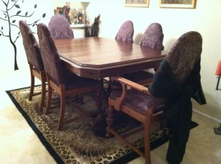 Antique Dining Table With 6 Chairs photo