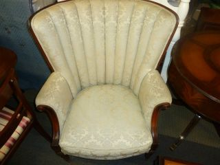 Antique Federal Chair Fireside Wingback Arm Chair Mahogany Frame photo