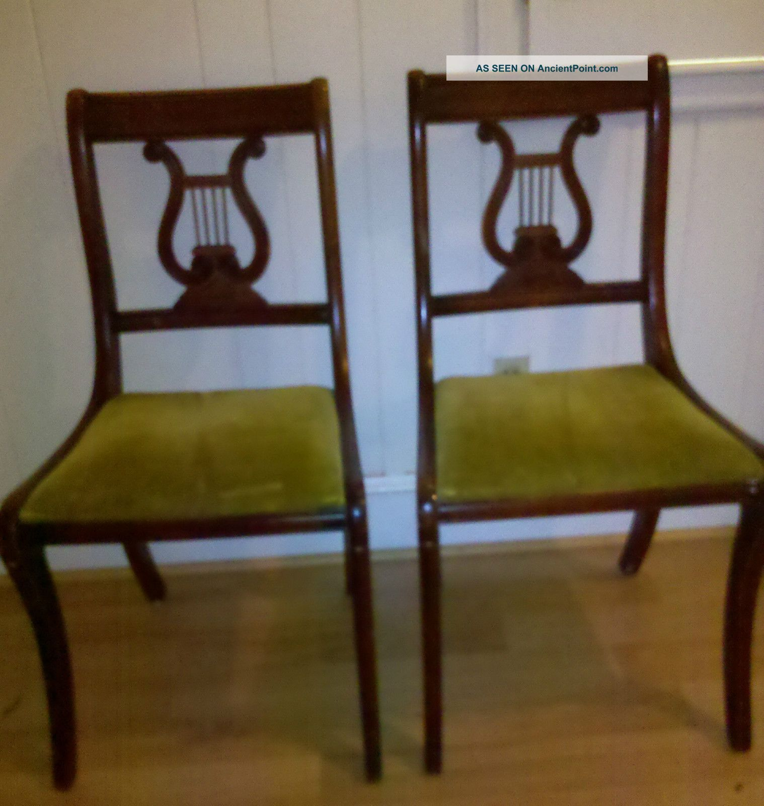 Two (2) Vintage Duncan Phyfe Lyre Harp Back Mahogany Dining Room Chairs
