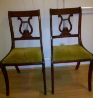 Two (2) Vintage Duncan Phyfe Lyre Harp Back Mahogany Dining Room Chairs photo