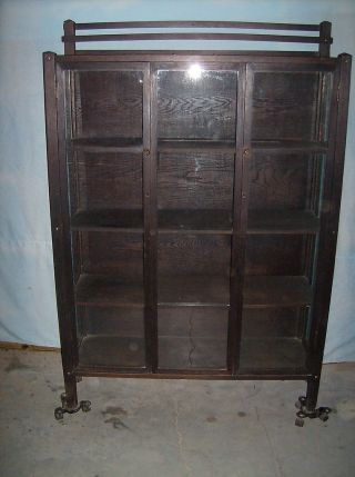1900 ' S Mission Oak China Cabinet Bookcase Arts & Crafts photo