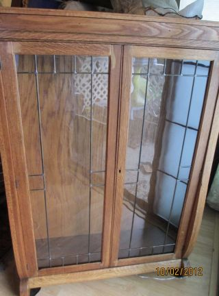 Antique Oak Cabinet New Leaded Overlay Glass Doors photo