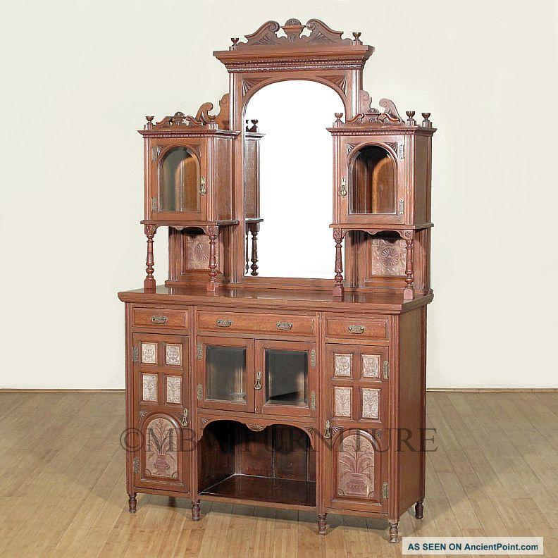 Antique English Walnut Edwardian Mirrorback Buffet Sideboard Server C1899 P45 1800-1899 photo