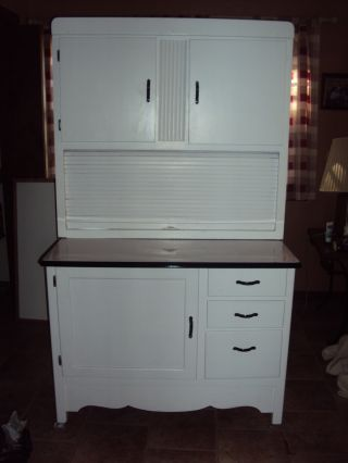 Vintage Hoosier Cabinet - White Excellent Enamel Porcelin Anitique Cabinet photo