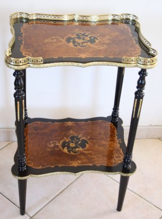 French Napoleon Iii Period Two Tiered Table With Elaborate Inlaid,  19th photo