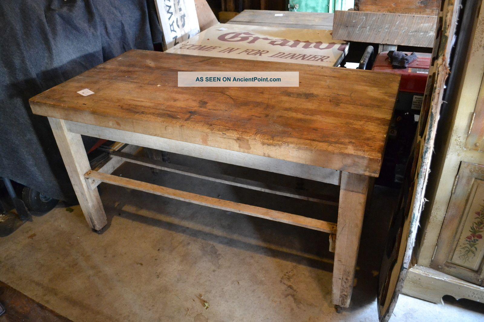 Vintage Butcher Block Table Wood Frame On Casters Workbench Kitchen Island