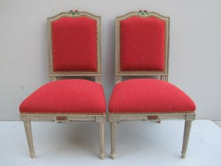Pair Of French Louis Xvi Patinated Chairs 08704 photo