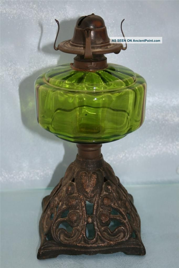 Art Nouveau Cast Iron & Green Glass Chamber Oil Lamp Condition Edwardian (1901-1910) photo
