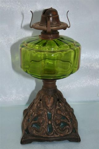 Art Nouveau Cast Iron & Green Glass Chamber Oil Lamp Condition photo
