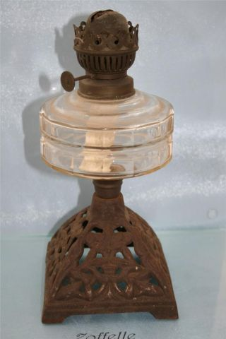 Art Nouveau Cast Iron & Clear Glass Chamber Oil Lamp Condition photo