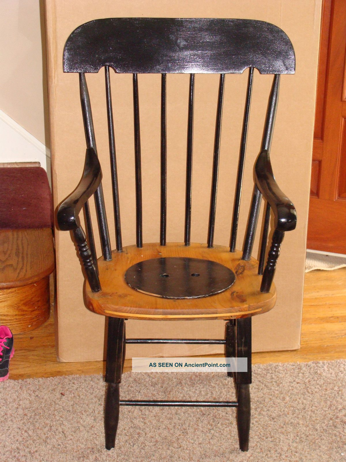 Antique wooden adult commode potty chair 1800 1899 photo