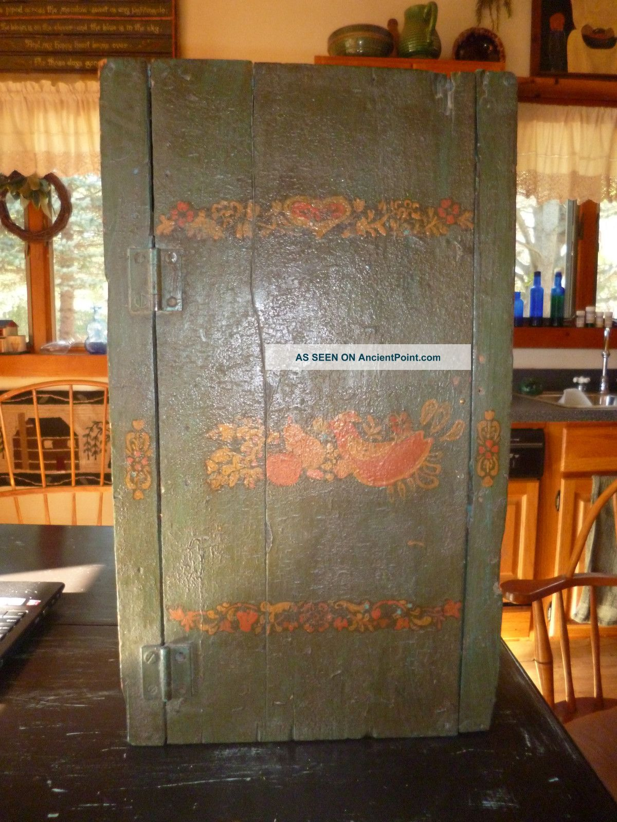 Wood Cupboard With Old Blue/ Paint & Pennsylvania Dutch Toll Paint . Full resolution  snapshot, nominally Width 1200 Height 1600 pixels, snapshot with #B24F08.