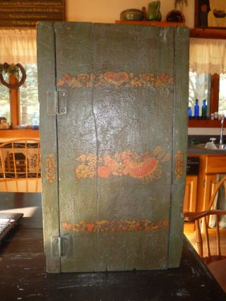 Antique Wood Cupboard With Old Blue/ Paint & Pennsylvania Dutch Toll Paint photo