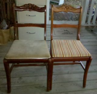 Two (2) Vintage French Rose Carved Back Mahogany Dining Room Chairs photo