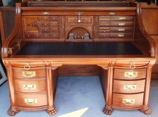 1852 Wells Fargo Roll Top Mahogany Desk St.  Andrews Co Owened By Henry Wells photo