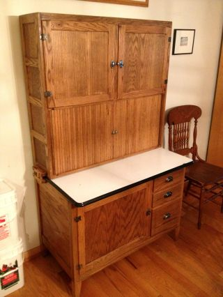 Oak Hoosier Kitchen Cabinet - Condition photo