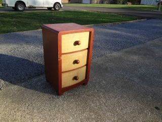 Vintage Mid - Century Modern Solid Wood Nightstand Sikes Furniture Leather Unique photo