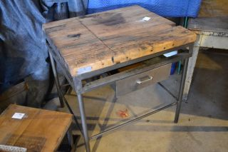 Vintage Butcher Block Table With Drawer Metal Frame Workbench Kitchen Island photo