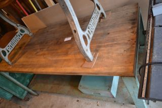 Vintage Butcher Block Table With Drawer Metal Frame Workbench Industrial Island photo